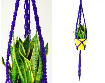 purple MACRAME PLANT HANGER  // hanging planter