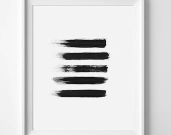 Brush Strokes, Brush Stroke Art, Brush Print, Black Painting, Abstract Print, Abstract Art, Black Wall Art, Minimalist Print, Simple Print