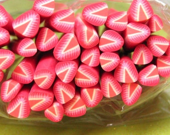 strawberry polymer clay cane fruit 1pc uncut DIY style B for miniature foods desserts sundae topping decoden kawaii and nail art supplies
