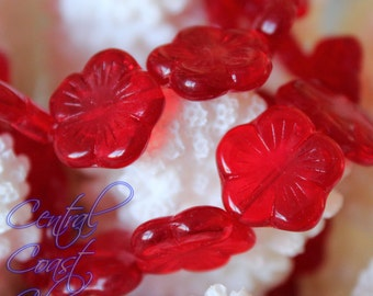 Hibiscus - Czech Pressed Glass Flat Flower Beads 14mm - 6pcs - Siam Ruby Red  - Central Coast Charms