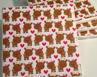 Custom Coasters - Drink Coasters - Ceramic Tile Coasters - Cute Reindeer Christmas Design - Christmas Gift - Home Decor - Custom Coaster Set
