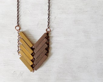 Mustard Wood Geometric Necklace // AFRICA // Minimal Jewelry // Yellow / Beige / Hand-Painted Necklace / Modern Necklaces / Chevron Necklace