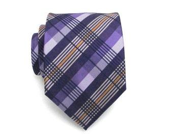 Mens Tie - Purple Plaid Silk Necktie