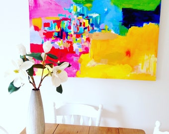The Gathering   Original bold colourful abstract   Acrylic abstract on canvas