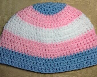 Crocheted Transgender Pride Beanie