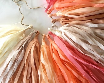 sale / TEA PARTY tissue paper tassel garland dusty rose pink coral peach wedding decoration girl first birthday party baby bridal shower