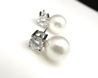 Bridal Jewelry Bridal earrings bridesmaid gift wedding earrings soft white or cream pearl on round cubic zirconia earring rhodium post