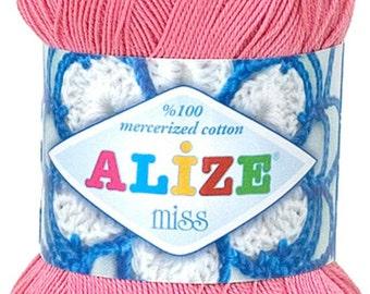 Alize Miss crochet thread size 10, 100% mercerized cotton, #264 pink
