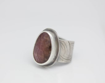 Rhodochrosite Ring Sterling Silver Ring Deep Pink Ring Le Chien Noir Unisex Boho Jewelry Adjustable