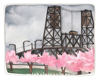 Art Print - Steel Bridge Art Print - Portland Oregon Art - Steel Bridge Art - 8x10 Art Print - Portland Steel Bridge Print - Portland Spring