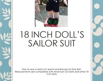Sailor suit for 18 inch dolls, pattern plus tutorial