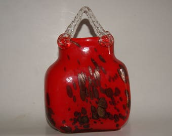 Vintage 1950s MURANO GLASS Art Glass Purse Or Basket Shaped Vase Red With Mica Flakes Clear Handles Unmarked
