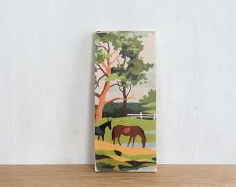 Paint by Number Art Block 'Grazing' - vintage, trees, ranch, horse farm