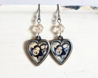 Valentine's Day heart earrings - Us - crystal heart earrings - I love you earrings - Happy couple  - epherma - vintage style
