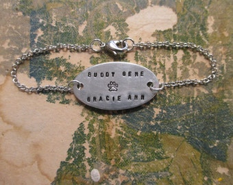The Cora Bracelet - Hand Stamped Metal Oval ID Bracelet