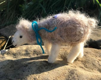 Needle Felted White Sheep Ornament