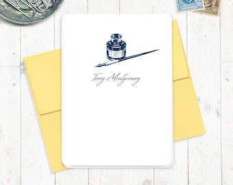 personalized note cards stationery set - VINTAGE PEN and INKWELL - set of 8 folded cards - personalized stationary - antique inkwell