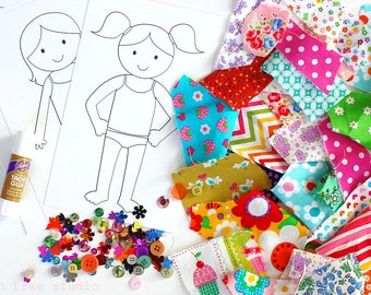 Dress me Up©   -- a Fun Paper & Fabric Doll Craft Kit for Children -- Girl Theme