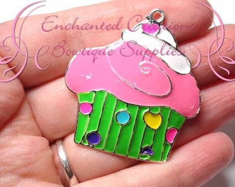 """2"""" Pink, Green and Multicolor Sweet Treat Cupcake, Chunky Pendant, Bookmark, KeyChain, Bookmark, Zipper Pull, Planner Charm, Purse Charm"""