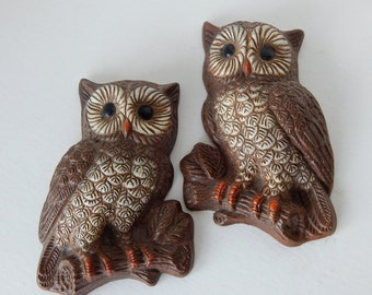 Mid Century Owl Wall Art -- FoamCraft Hanging Plaques - 1970's - Set of Two Wide Eyed Owls