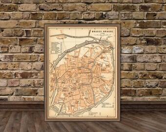 """Old map of Bruges - Bruges map  archival print - 15 x 20"""""""