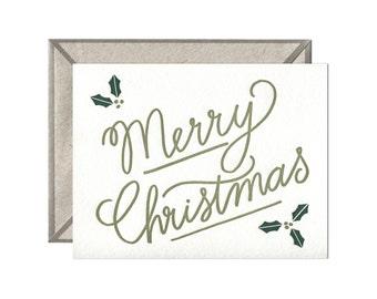 Merry Christmas letterpress card - single