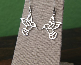 Large hummingbird earrings in sterling silver, hummingbird charm, bird earrings, silver hummingbird, silver bird charms, mother's day