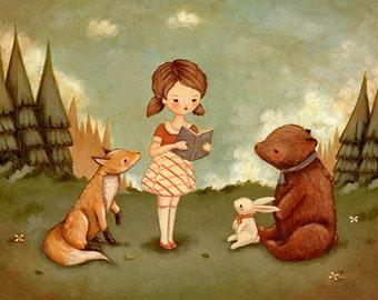 Woodland Storytime Druck 10 x 8 - Kunst für Kinder, Mädchen, Fuchs, Hase, Bär, niedlich, Buch-Liebhaber, Bücherwurm, lesen, Geschichte, Kinder Dekor, Kindergarten Kunst