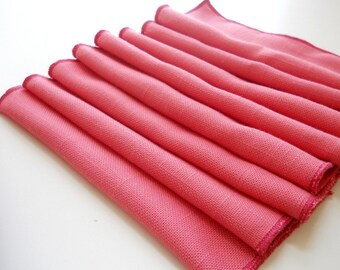 recycled Cloth Cocktail / Hors d'oeuvre Napkins in Pretty Pink, set of 8, Table Napkins