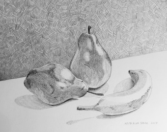Graphite Pencil Drawing, Study, Original, one of a kind, Pears and a banana