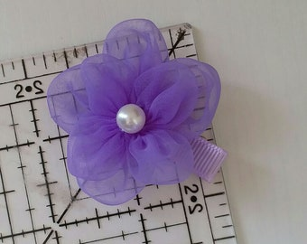 8 Handmade Organza Flowers With Pearl (1-3/4 inches) in Lavender  MY-664-193 Ready To Ship