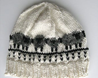 Winter Beanie, Knit Fair Isle Alpaca Wool Silk Hat, Sheep Hat for Men Women, Natural Black, Gray, and White
