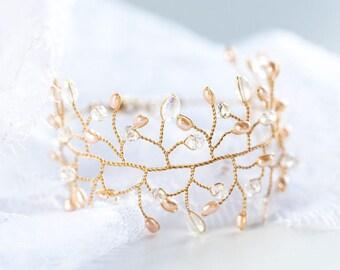 Peach pearls bracelet, Clear white crystals bracelet, Pink pearl bracelet, Bracelet gold, Wedding pearl jewelry, Bracelet crystal twig 61