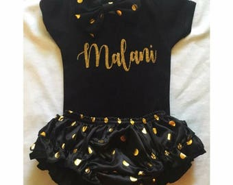 Black & Gold Polka Dot Set