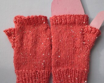 Ladies fingerless gloves, wrist warmers, texting mitts, wool / mohair, sequins, apricot, seamless