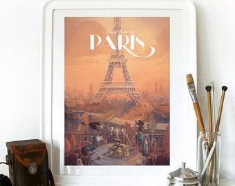 Paris Print, Paris Bedroom Decor, Paris Wall Art, Eiffel Tower Decor, Paris Skyline, Eiffel Tower Print, Paris Decor, Bedroom Decor
