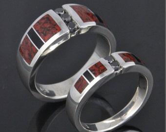 Dinosaur Bone Wedding Ring Set with Black Diamonds in Sterling Silver- His and Hers Dinosaur Bone Wedding Rings