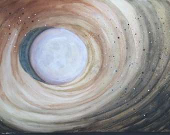Moon beginning! Original Watercolor painting.  Star dust and space dust explode into a beautiful Moon for all to adore!
