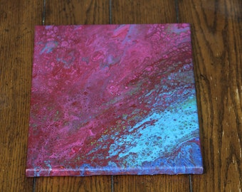 Abstract Acrylic Flow Painting - Crimson Waves
