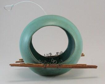 Ceramic Bird Feeder - Pottery Bird Feeder - Teal - Twig Perch