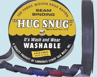"NAVY - Hug Snug Seam Binding - 100 yard roll 1/2"" Wide - 100% Woven-Edge Rayon - Sewing Trim & Craft Supply - Wholesale Ribbon"
