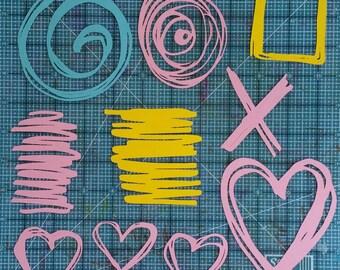 Scribbles SVG digital die cut, doodle SVG cutting file & clip art, Cricut Silhouette SVG, scribbly stencils, fun shapes cuttable file + pdf