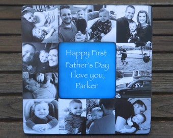 Personalized Father's Day Gift, Unique Birthday Gift for Dad, Photo Collage Baby Picture Frame, Baby's First Year, Custom Mother's Day Gift