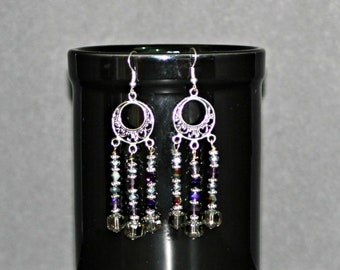3 Strand Dark Crystal Mirror Silver Earrings,3 Strand Crystal Silver Earrings,3 Strand Dark Crystal Earrings,3 Strand Dark Silver Earrings