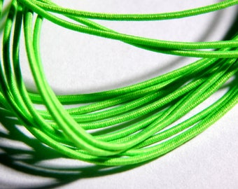 1mm Neon Green Round Elastic Cord with Nylon - 5 Yards, (INDOC137)