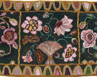 Peony And Roses rug hooking pattern on linen//primitive floral by Karen Kahle