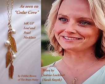 14K gold filled leaf and pearl necklace, as seen on Justine on Cedar Cove, as seen on facebook