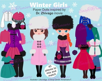 Paper dolls download, girl clip art, winter clothes, paper doll clipart, clothes clipart, fashion clip art