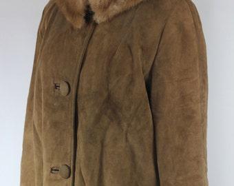 Brown Suede 1950's Long Coat w/ Fur Collar