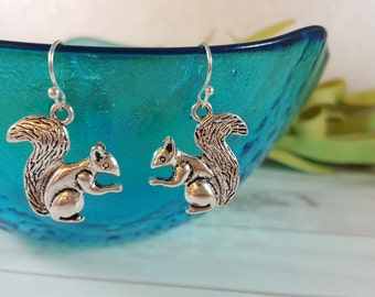 Squirrel Earrings - Woodland Earrings - Woodland Animal Earrings - Silver Squirrel Earrings - Fall Earrings - Fall Gift for Her - Squirrel